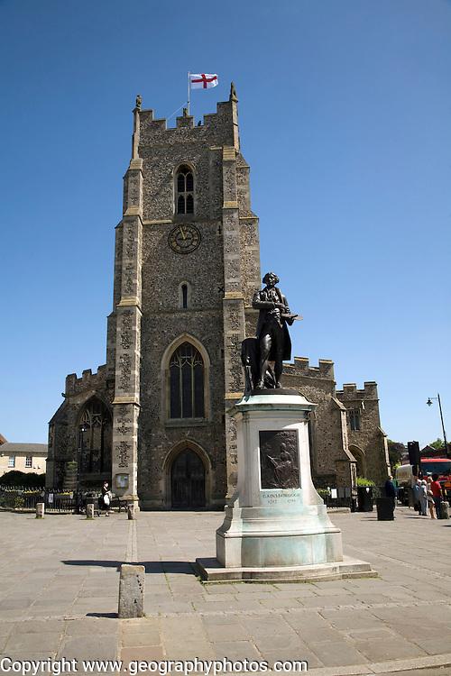 Thomas Gainsborough statue, Church of Saint Peter and Market Hill, Sudbury, Suffolk, England