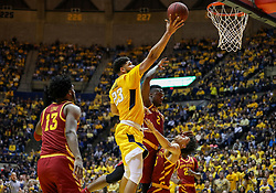 Feb 24, 2018; Morgantown, WV, USA; West Virginia Mountaineers forward Esa Ahmad (23) shoots in the lane during the second half against the Iowa State Cyclones at WVU Coliseum. Mandatory Credit: Ben Queen-USA TODAY Sports