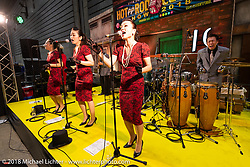 The wonderful band called the Oh!Sharels sang their jazz and pop tunes in perfect harmony at the 27th Annual Mooneyes Yokohama Hot Rod Custom Show 2018. Yokohama, Japan. Sunday, December 2, 2018. Photography ©2018 Michael Lichter.