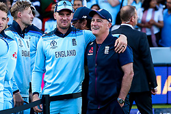 Jason Roy of England celebrates with England Coach Graeme Thorpe - Mandatory by-line: Robbie Stephenson/JMP - 14/07/2019 - CRICKET - Lords - London, England - England v New Zealand - ICC Cricket World Cup 2019 - Final