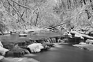 A Snow Covered Little Creek And Waterfall In Winter, Keehner Park, Southwestern Ohio, USA