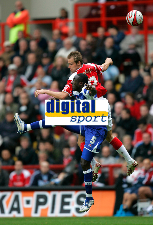 Photo: Tom Dulat.<br /> <br /> Charlton Athletic v Queens Park Rangers. Coca Cola Championship. 27/10/2007.<br /> <br /> Damion Stewart of Queens Park Rangers and Luke Varney of Charlton Athletic with the ball.
