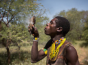 Hadza make fire with a stick, and use no matches or lighter. At the Hadza camp of Dedauko.