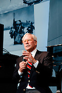 Photograph of Tom Brokaw speaking at the grand opening of the U.S. Freedom Pavillion, The Boeing Center at the National WWII Museum in New Orleans, LA