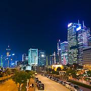 Hong Kong skyline at night on Christmas