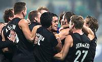 NEW DELHI -  Vreugde bij NZL tijdens de halve finale  van de Hockey World League finaleronde tussen de mannen van Engeland en Nieuw-Zeeland .  Nieuw Zeeland wint na shoot-0uts. ANP KOEN SUYK