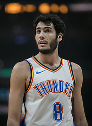 October 19, 2018 - Los Angeles, California, U.S - Alex Abrines #8 of the Oklahoma Thunder during their NBA game with the Los Angeles Clippers  on Friday October 19, 2018 at the Staples Center in Los Angeles, California. Clippers defeat Thunder, 108-92. (Credit Image: © Prensa Internacional via ZUMA Wire)