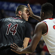 Laimonas Chatkevicius, South Carolina, defended by Yankuba Sima, St. John's, during the St. John's vs South Carolina Men's College Basketball game in the Hall of Fame Shootout Tournament at Mohegan Sun Arena, Uncasville, Connecticut, USA. 22nd December 2015. Photo Tim Clayton