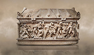 Roman relief sculpted Herakles (Hercules)  sarcophagus, 2nd century AD, Perge, inv 1,11,81-1.3.99-2.3.99.. Antalya Archaeology Museum, Turkey. Against a warm art background..<br /> <br /> If you prefer to buy from our ALAMY STOCK LIBRARY page at https://www.alamy.com/portfolio/paul-williams-funkystock/greco-roman-sculptures.html . Type -    Antalya    - into LOWER SEARCH WITHIN GALLERY box - Refine search by adding a subject, place, background colour, etc.<br /> <br /> Visit our ROMAN WORLD PHOTO COLLECTIONS for more photos to download or buy as wall art prints https://funkystock.photoshelter.com/gallery-collection/The-Romans-Art-Artefacts-Antiquities-Historic-Sites-Pictures-Images/C0000r2uLJJo9_s0