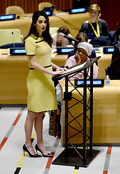 Amal Clooney is seen at The United Nations Headquarters in New York City, USA