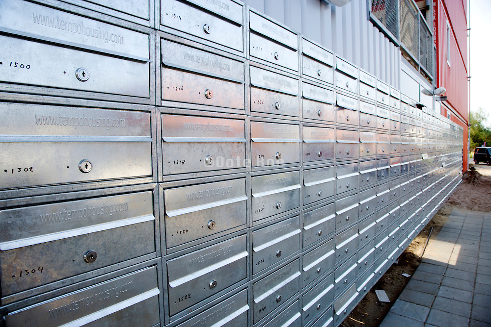 row with many new mailboxes Amsterdam
