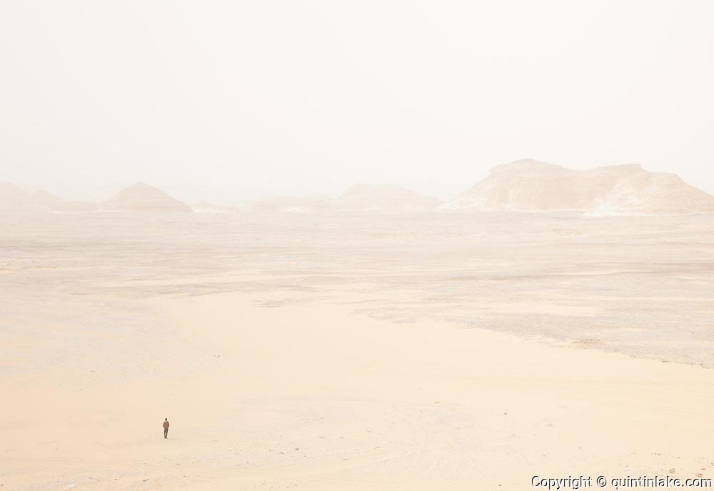 Mahmood, A Bedouin guide, guides us across the White Desert, Egypt