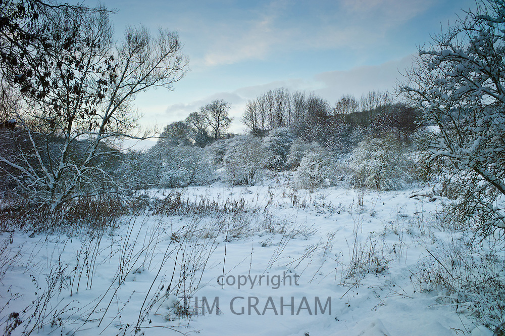 Snow covered landscape in The Cotswolds, UK