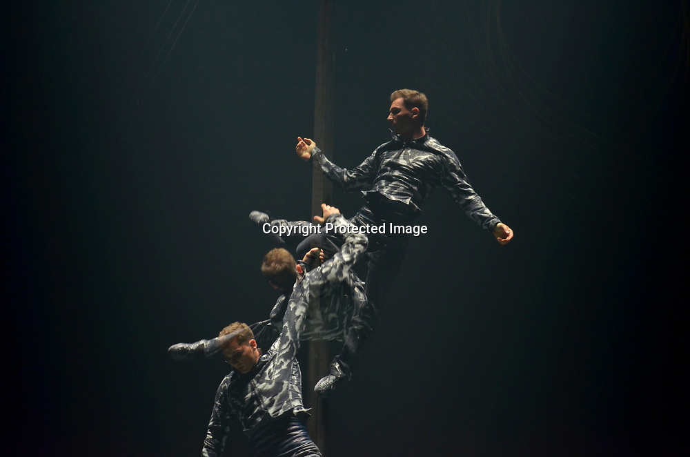 """Performers perform during Cirque du Soleil """"Amaluna"""" at National Harbor on July 30, 2014 in Oxon Hill, Maryland"""