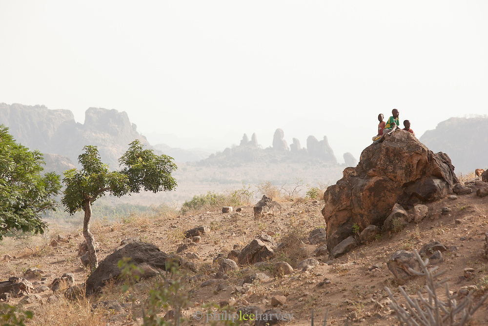 The hot, barren and mountainous landscape in the north of Cameroon