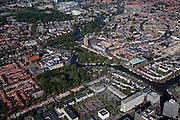 Nederland, Friesland, Leeuwarden, 08-09-2009; Westelijk deel binnenstad met concertgebouw De Harmonie aan de Westersingel (groen dak), links de toren Oldehove naast het Stadskantoor.West part of the city, concert hall 'The Harmony' at the Westersingel (green roof), left the tower Oldehove next to the city hall.Luchtfoto (toeslag); aerial photo (additional fee required); .foto Siebe Swart / photo Siebe Swart