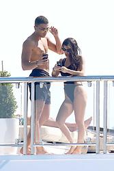 Antibes, 24th of May, 2017<br /> Kourtney Kardashian and boyfriend Younes Bendjima aboard yacht checking social medias<br /> ABACAPRESS.COM
