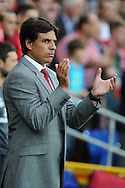 Wales manager Chris Coleman looks on before k/o.  Friendly football international match, Wales v Republic of Ireland at the Cardiff city Stadium in Cardiff,  South Wales on Wed 14th August 2013. pic by Andrew Orchard,  Andrew Orchard sports photography,