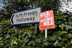 © Licensed to London News Pictures. 14/05/2016. LONDON, UK. Demonstrators from a number of Islington housing groups stage a protest and march along Holloway Road, ending outside Holloway prison to protest against the housing bill and closure of Holloway prison. Protesters accuse the government of selling off the publicly owned inner city prison to private property developers, accelerating gentrification and worsening the UK's housing crisis. MP for Islington North, Jeremy Corbyn joined protesters and spoke of his support at the start of the demonstration. Photo credit: Vickie Flores/LNP