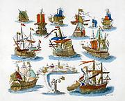Popular Eighteenth century print of  various sailing vessels.