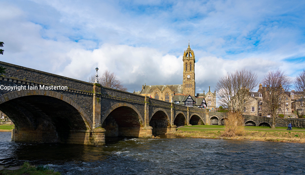 View of Old Parish Church from River Tweed Bridge in Peebles, Scottish Borders, Scotland,UK