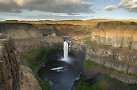 Palouse Falls plunging over layered basalt flows of the Columbia Plateau Washington