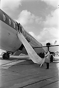 29/03/1963<br /> 03/29/1963<br /> 29 March 1963<br /> B.E.A. Aircrash at Dublin Airport. The escape chute used by passages when BEA London-Dublin Vanguard G-APEJ crash-landed at Dublin Airport. There were no fatalities in the accident. Photos, Photo, Snap, Streets, Street,