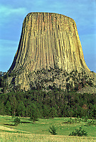 West side of Devils Tower as seen from the Joyner Ridge Trail Head. Devils Tower National Monument, Wyoming, USA.