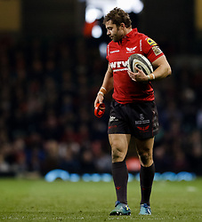 Scarlets' Leigh Halfpenny<br /> <br /> Photographer Simon King/Replay Images<br /> <br /> Guinness PRO14 Round 21 - Dragons v Scarlets - Saturday 28th April 2018 - Principality Stadium - Cardiff<br /> <br /> World Copyright © Replay Images . All rights reserved. info@replayimages.co.uk - http://replayimages.co.uk