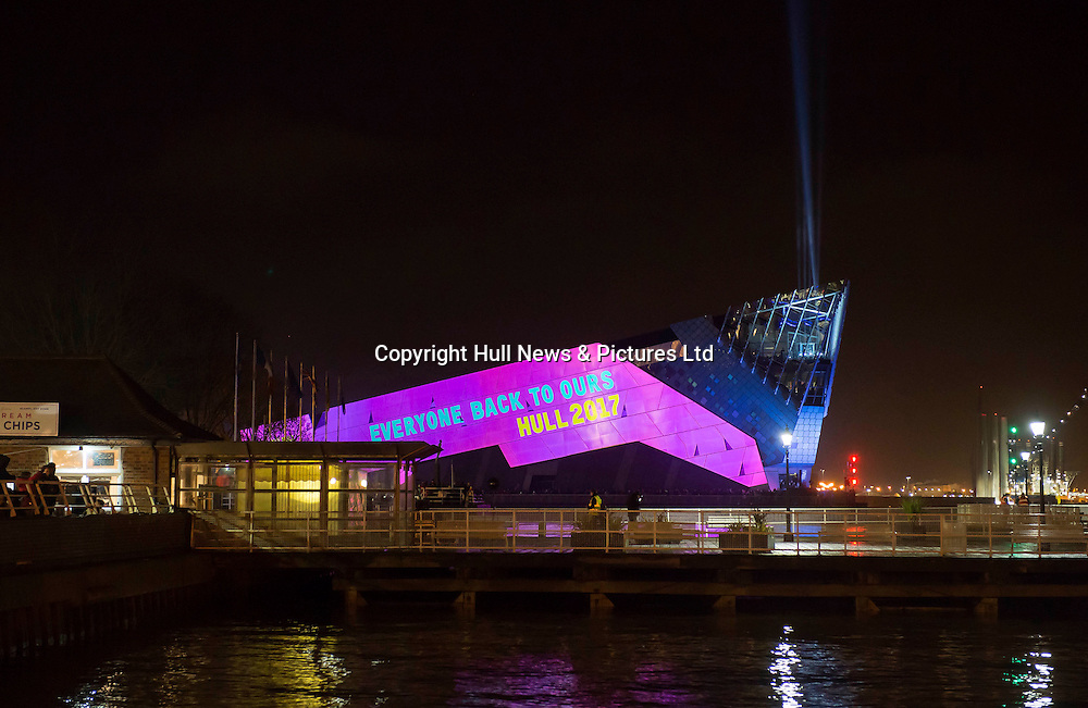 1 January 2017: Launch of Hull 2017 - Uk City of Culture.<br /> The Deep displays a message.<br /> Picture: Sean Spencer/Hull News & Pictures Ltd<br /> 01482 210267/07976 433960<br /> www.hullnews.co.uk         sean@hullnews.co.uk