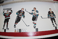 KELOWNA, CANADA - SEPTEMBER 24: The wall mural outside the Kelowna Rockets dressing room adds a third Stanley Cup to the portrait of Duncan Keith on September 24, 2016 at Prospera Place in Kelowna, British Columbia, Canada.  (Photo by Marissa Baecker/Shoot the Breeze)  *** Local Caption *** Duncan Keith;