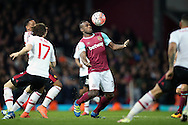 Michail Antonio of West Ham United in action. The Emirates FA cup, 6th round replay match, West Ham Utd v Manchester Utd at the Boleyn Ground, Upton Park  in London on Wednesday 13th April 2016.<br /> pic by John Patrick Fletcher, Andrew Orchard sports photography.