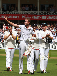 File photo dated 06-08-2015 of England's Stuart Broad celebrates as he walks off with a 8 wicket haul as Australia are all out for 60 during day one of the Fourth Investec Ashes Test at Trent Bridge, Nottingham.
