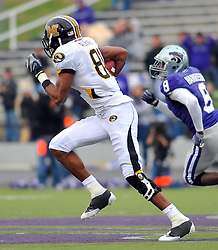 Nov 14, 2009; Manhattan, KS, USA; Missouri wide receiver Danario Alexander (81) runs for yardage and a touchdown in the second half against the Kansas State Wildcats at Bill Snyder Family Stadium. The Tigers won 38-12. Mandatory Credit: Denny Medley-US PRESSWIRE