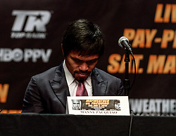 LOS ANGELES, CA - MAR 10 Manny Pacquiao attends the Mayweather vs Pacquiao press conference at the Nokia Theater in Los Angeles, California USA to promote their upcoming bout at the MGM Grand in Las Vegas, NV May 2, 2015. This is the ony presser. 2015 Feb 9. Byline, credit, TV usage, web usage or linkback must read SILVEXPHOTO.COM. Failure to byline correctly will incur double the agreed fee. Tel: +1 714 504 6870.