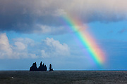 A bright rainbow shines over the Atlantic Ocean near the Reynisdrangar sea stacks, also known as the Troll Rocks. The Troll Rocks are located near Vík, Iceland. According to Icelandic legend, the rocks are the remnants of trolls that were out fishing too late. The legend says trolls will turn to stone if they're exposed to daylight.
