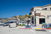 Morning street scene in Avila Beach, California, USA. Front Street.