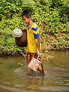 """22 APRIL 2014 - WANG NUA, LAMPANG, THAILAND: A boy carries his gold mining supplies downriver while he pans for gold in the Mae Wang. Villagers in the Wang Nua district of Lampang province found gold in the Mae Wang (Wang River) in 2011 after excavation crews dug out sand for a construction project. A subsequent Thai government survey of the river showed """"a fair amount of gold ore,"""" but not enough gold to justify commercial mining. Now every year when the river level drops farmers from the district come to the river to pan for gold. Some have been able to add to their family income by 2,000 to 3,000 Baht (about $65 to $100 US) every month. The gold miners work the river bed starting in mid-February and finish up  by mid-May depending on the weather. They stop panning when the river level rises from the rains. This year the Thai government is predicting a serious drought which may allow miners to work longer into the summer.    PHOTO BY JACK KURTZ"""