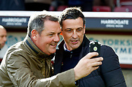 Sunderland Manager Jack Ross has a selfie with a fan during the EFL Sky Bet League 1 match between Bradford City and Sunderland at the Northern Commercials Stadium, Bradford, England on 6 October 2018.