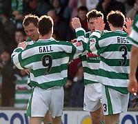 Photo: Daniel Hambury, Digitalsport<br /> Yeovil Town V Bristol Rovers.<br /> Coca Cola League Two.<br /> 12/02/2005.<br /> Yeovil'sÊPhillip Jevons (facing) celebrates scoring his first goal.