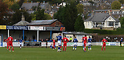 Game stopped for a moment whilst a team player from Matlock FC receiving some medical assistance on pitch during the Northern Premier League match between Matlock FC and Ashton United at the Proctor Cars Stadium on October 10th, 2020 in Matlock, Derbyshire.  Local fans welcomed to watch the match maintaining Government's Covid-19 guidelines. (VXP Photo/ Shaun Hardwick)