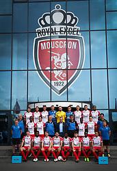 July 17, 2017 - Mouscron, BELGIUM - Top Row (L-R): 11 Mouscron's Dimitri Mohamed, Mouscron's Selim Amallah, Mouscron's Bruno Godeau, Mouscron's Jean Butez , Mouscron's goalkeeper Logan Bailly, Mouscron's goalkeeper Clement Libertiaux, Mouscron's Mergim Vojvoda, Mouscron's Dino Arslanagic, Mouscron's Jonathan Bolingi, Middle Row (L-R): Mouscron's Eric Deleu, Mouscron's Fabrice Olinga, Mouscron's Omar Govea, Mouscron's Thomas Demol, Mouscron's head coach Mircea Rednic, Mouscron's assistant coach Marian Rada, Mouscron's Babacar Dione, Mouscron's Noam Debaisieux,Mouscron's Olivier Croes, Front Row (L-R): Mouscron's physiotherapist Maxime Degouys, Mouscron's Lucas Morales, Mouscron's Aristote Nkaka, Mouscron's Jeremy Huyghebaert, Mouscron's Benjamin Van Durmen, Mouscron's Rael Nzeza, Mouscron's Sebastien Spahiu, Mouscron's Yannis Mbombo, Mouscron's Thomas Demol and Mouscron's physiotherapist Pierre Alain Six pose for the photographer at the team picture during the 2017-2018 season photo shoot of Belgian first league soccer team Royal Excel Mouscron, Monday 17 July 2017 in Mouscron. BELGA PHOTO VIRGINIE LEFOUR (Credit Image: © Virginie Lefour/Belga via ZUMA Press)
