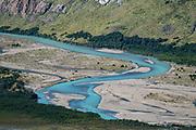 Rio de las Vueltas seen from Sendero Fitz Roy trail, in Los Glaciares National Park. El Chalten mountain resort is in Santa Cruz Province, Argentina, Patagonia, South America. The town is 220 km north of El Calafate.