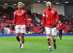 Lloyd Kelly and Hordur Magnusson of Bristol City- Mandatory by-line: Nizaam Jones/JMP - 17/03/2018 - FOOTBALL - Ashton Gate Stadium- Bristol, England - Bristol City v Ipswich Town - Sky Bet Championship
