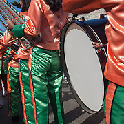Marching band before the Balayong Festival parade. The festival at the beginning of March commemorates the founding anniversary of the City of Puerto Princesa, Palawan, highlighted by balayong tree-planting, street dancing and a colourful floral parade depicting the Palawan cherry blossoms from which the festival derives its name. The Palawan cherry is one of the most popular flowering trees in Palawan and known by the locals as the Balayong, a beautiful tree that when it is in full bloom resembles the cherry blossoms of Japan.
