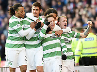 01/02/15 SCOTTISH LEAGUE CUP SEMI-FINAL<br /> CELTIC v RANGERS<br /> HAMPDEN - GLASGOW<br /> Celtic's Kris Commons (2nd from right) celebrates his goal with his team-mates