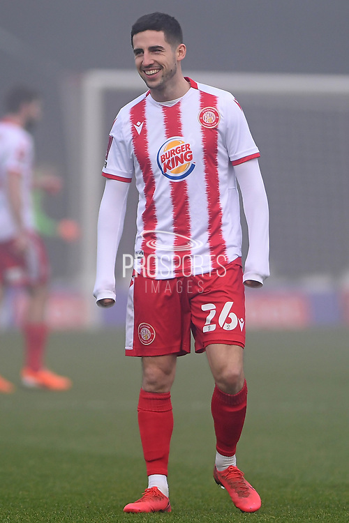 portrait Stevenage midfielder Tom Pett (26) during the FA Cup match between Stevenage and Swansea City at the Lamex Stadium, Stevenage, England on 9 January 2021.