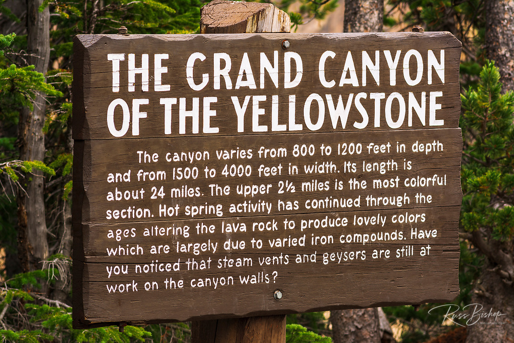 Interpretive sign at the Grand Canyon of the Yellowstone, Yellowstone National Park, Wyoming USA