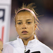 Mallory Pugh, USA, during team National Anthems before the USA Vs Colombia, Women's International friendly football match at the Pratt & Whitney Stadium, East Hartford, Connecticut, USA. 6th April 2016. Photo Tim Clayton