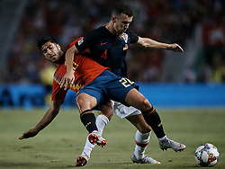 September 11, 2018 - Alicante, Alicante, Spain - Marco Asensio (L) of Spain competes for the ball with Ivan Perisic of Croatia during the UEFA Nations League A group four match between Spain and Croatia at Martinez Valero  on September 11, 2018 in Elche, Spain  (Credit Image: © David Aliaga/NurPhoto/ZUMA Press)